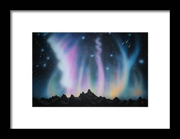 Aurora Borealis Framed Print featuring the painting Aurora Borealis in the Rockies by Thomas Kolendra