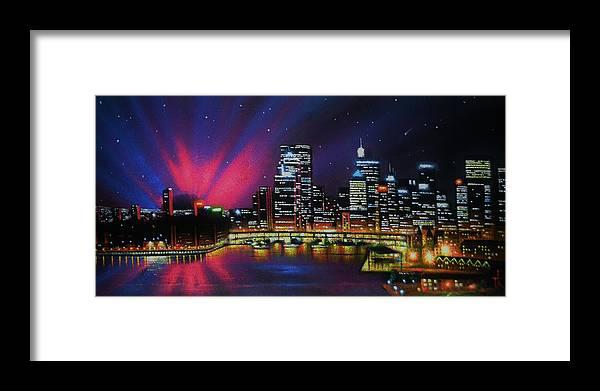 Aurora Borealis Framed Print featuring the painting Aurora Borealis over Quebec by Thomas Kolendra