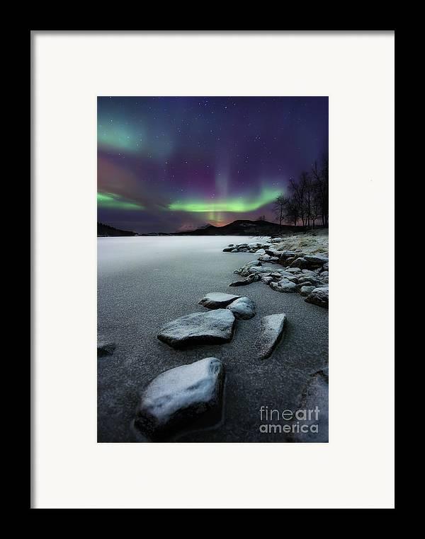 Aurora Borealis Framed Print featuring the photograph Aurora Borealis Over Sandvannet Lake by Arild Heitmann