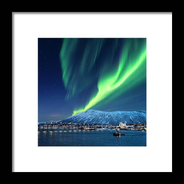 Scenics Framed Print featuring the photograph Aurora Borealis Over Tromso Port by Mike Hill