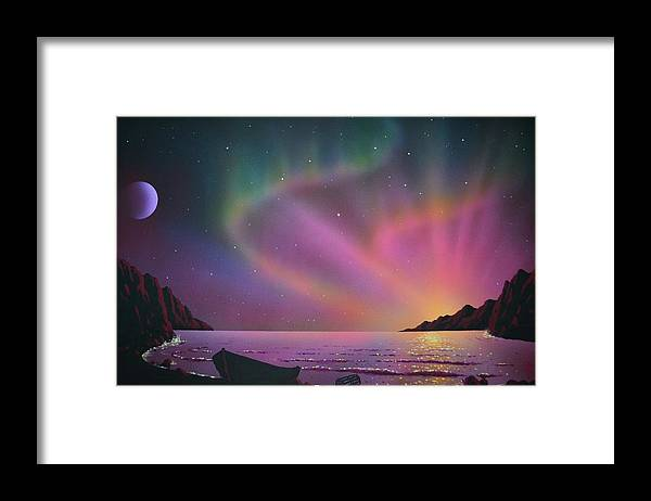 Aurora Borealis Framed Print featuring the painting Aurora Borealis with lobster cage by Thomas Kolendra