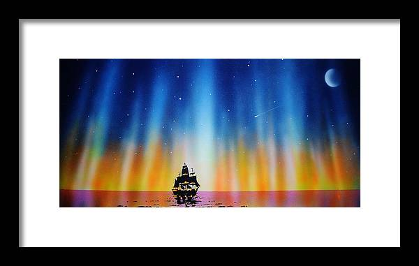 Framed Print featuring the painting Aurora Borealis with tall ship by Thomas Kolendra