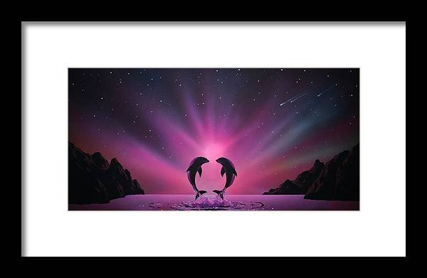 Aurora Borealis Framed Print featuring the painting Aurora Borealis with two Dolphins by Thomas Kolendra