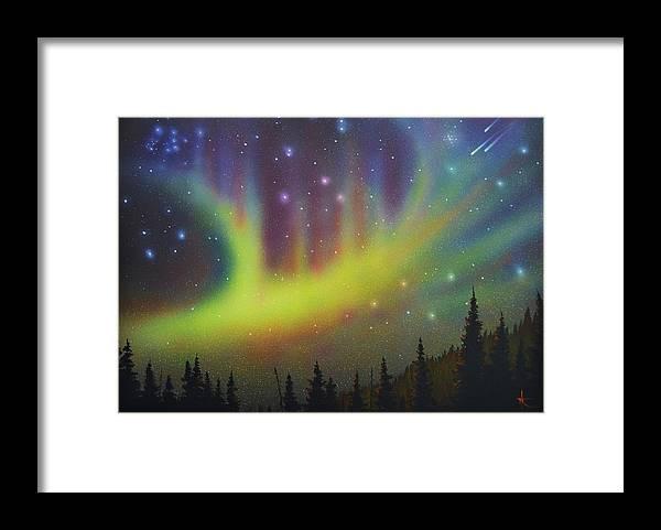 Aurora Borealis Framed Print featuring the painting Aurora Borealis yellow streak by Thomas Kolendra