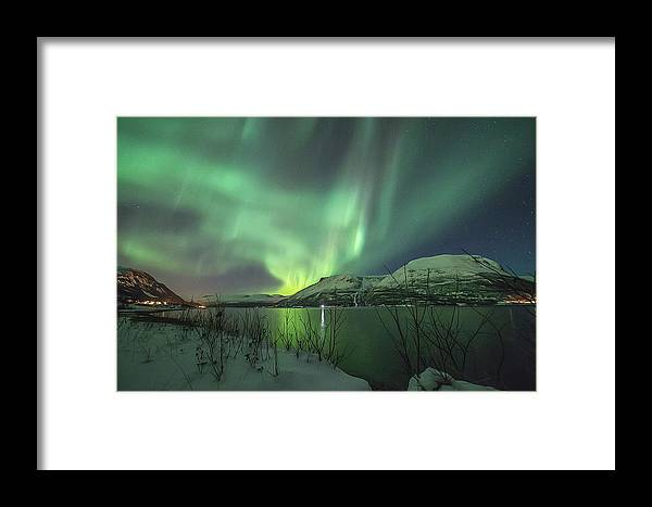 Northern Lights Framed Print featuring the photograph Aurora In Nothern Norway I by Tom Kiil