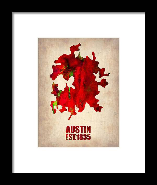 Austin Framed Print featuring the painting Austin Watercolor Map by Naxart Studio