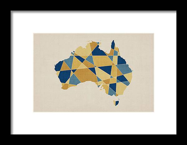 Australia geometric retro map framed print by michael tompsett australia map framed print featuring the digital art australia geometric retro map by michael tompsett gumiabroncs Choice Image
