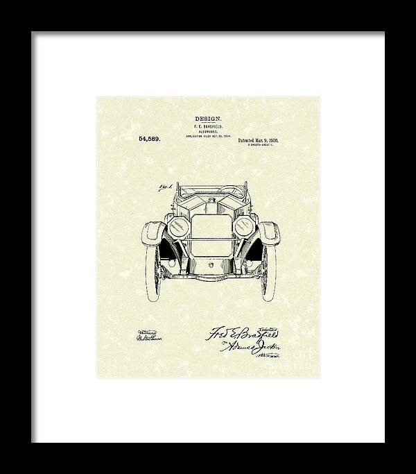 Bradfield Framed Print featuring the drawing Automobile 1920 Patent Art by Prior Art Design