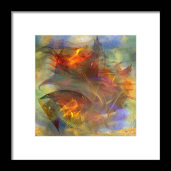 Autumn Framed Print featuring the digital art Autumn Ablaze - Square Version by John Beck
