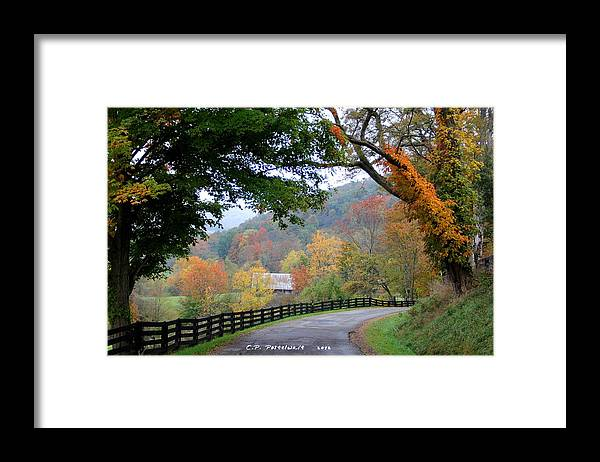 Nature Framed Print featuring the photograph Autumn Beauty around the Bend by Carolyn Postelwait