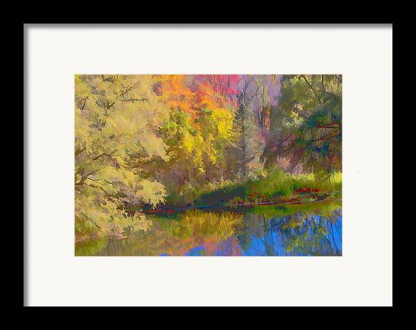 Autumn Framed Print featuring the photograph Autumn Beside The Pond by Don Schwartz