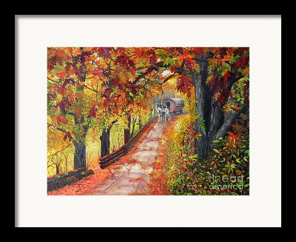 Scenery Framed Print featuring the painting Autumn Dreams by Lora Duguay
