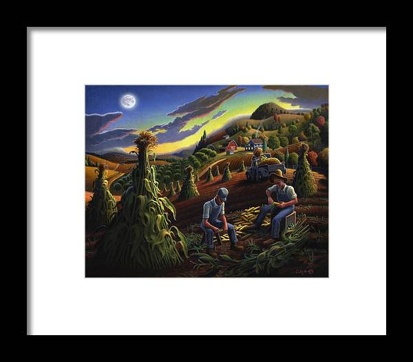 Autumn Framed Print featuring the painting Autumn Farmers Shucking Corn Appalachian Rural Farm Country Harvesting Landscape - Harvest Folk Art by Walt Curlee