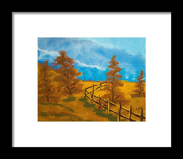 Autumn Framed Print featuring the painting Autumn Fence by Scott Ashworth