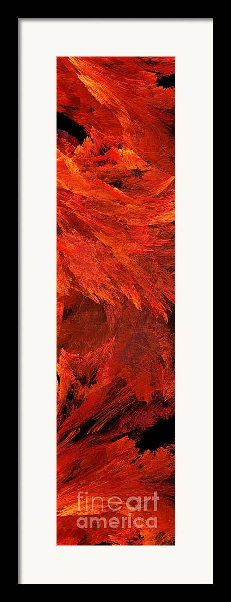Abstract Framed Print featuring the digital art Autumn Fire Pano 2 Vertical by Andee Design