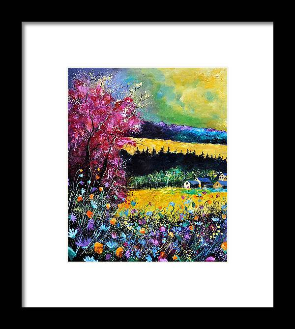 Landscape Framed Print featuring the painting Autumn Flowers by Pol Ledent