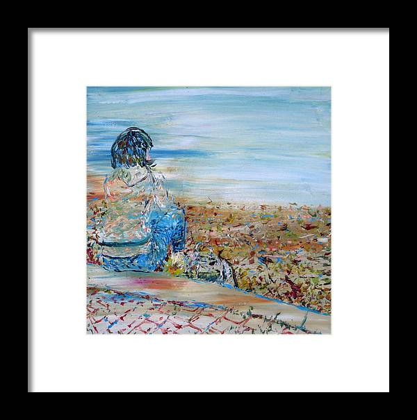 Girl Framed Print featuring the painting Autumn - Girl At The Lake by Fabrizio Cassetta