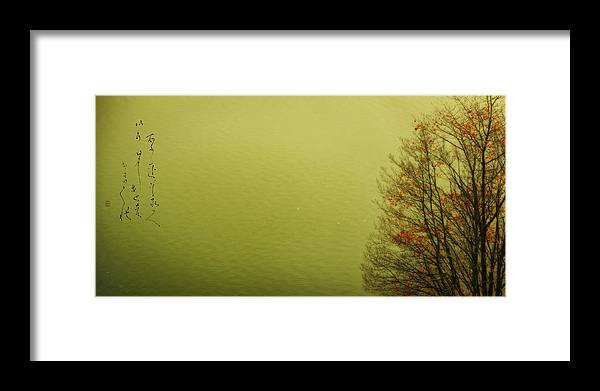 Autum Tree At The Lake Framed Print featuring the photograph Autumn Haiku Haiga by Peter v Quenter