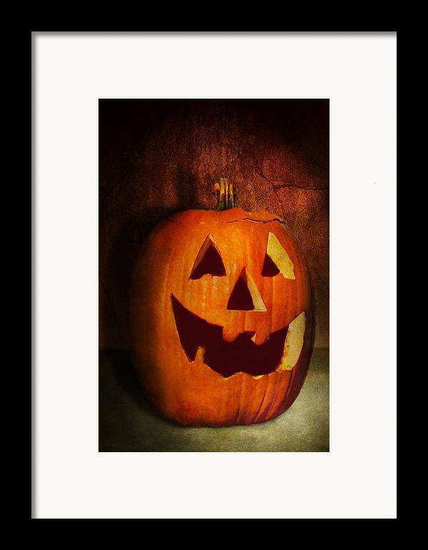 Autumn Framed Print featuring the photograph Autumn - Halloween - Jack-o-lantern by Mike Savad