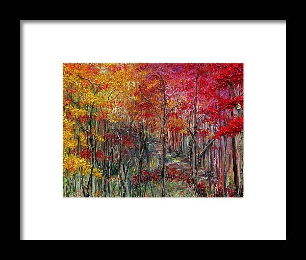 Autumn Framed Print featuring the painting Autumn In The Woods by Karin Dawn Kelshall- Best