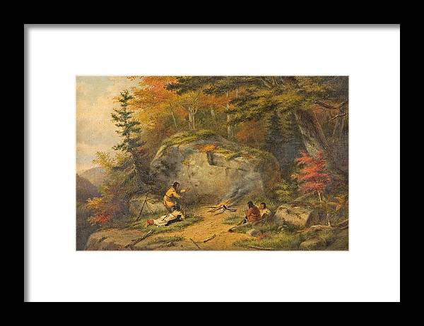 Native Framed Print featuring the painting Autumn In West Canada Chippeway Indians by Cornelius Krieghoff