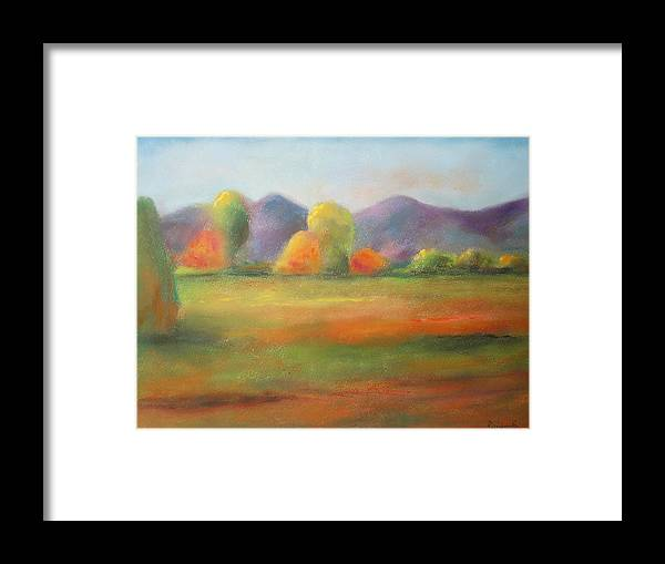 Landscape Framed Print featuring the pastel Autumn Journey by Renee Poblacion
