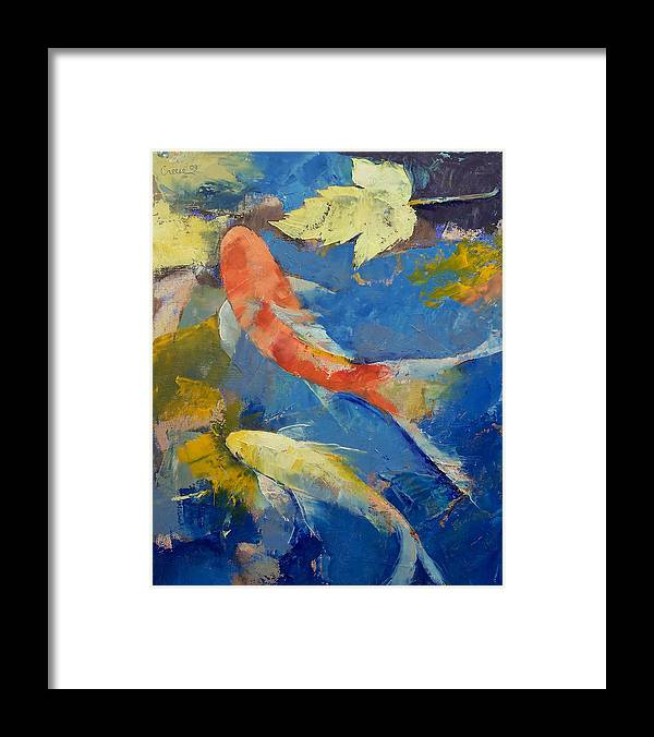 Autumn Framed Print featuring the painting Autumn Koi Garden by Michael Creese