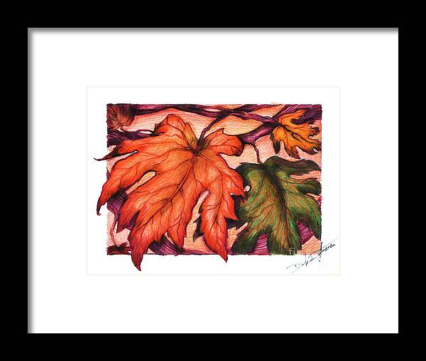 Landscape Framed Print featuring the drawing Autumn Leaves by Derrick Bruno-Rathgeber