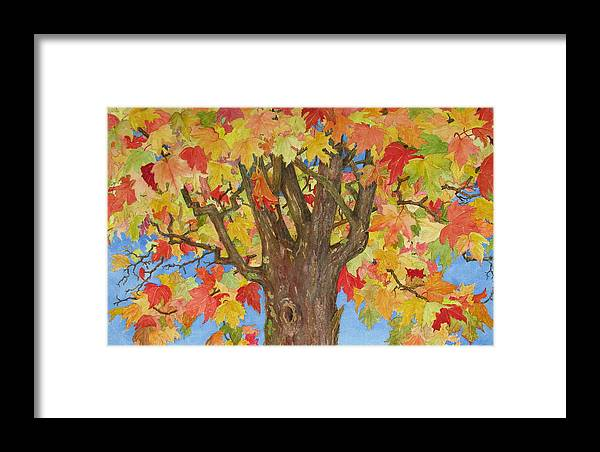 Leaves Framed Print featuring the painting Autumn Leaves 1 by Mary Ellen Mueller Legault