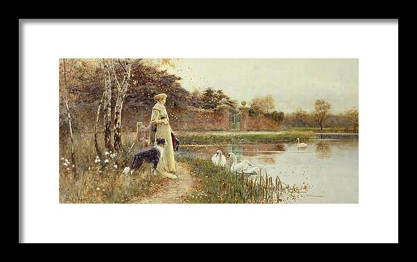 Autumnal Framed Print featuring the painting Autumn Leaves by Thomas James Lloyd