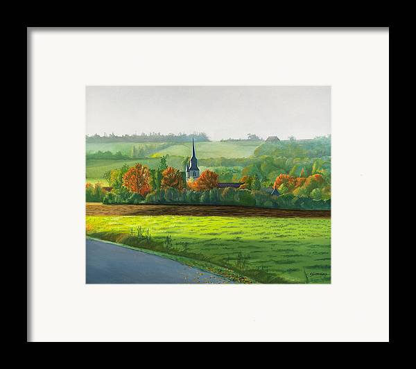 Autumn Framed Print featuring the painting Autumn Morning At St Ulphace by Christian Simonian