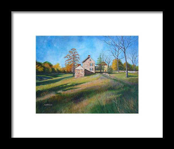 Farm Framed Print featuring the painting Autumn Morning by Diane Hutchinson