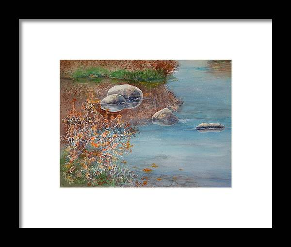 Framed Print featuring the painting Autumn On The Yampa by Mary Levingston