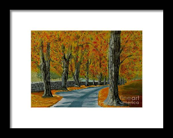 Autumn Framed Print featuring the painting Autumn Pathway by Anthony Dunphy