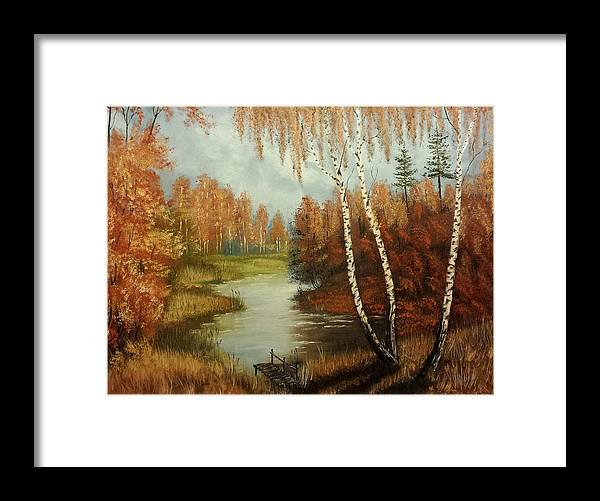 Landscape Framed Print featuring the painting Autumn River by Ewa Malodobra