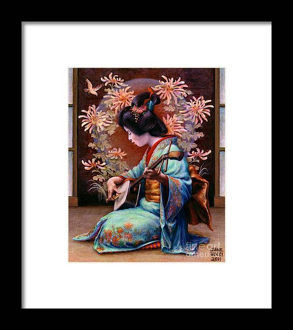 Woman Framed Print featuring the painting Autumn Song by Jane Bucci