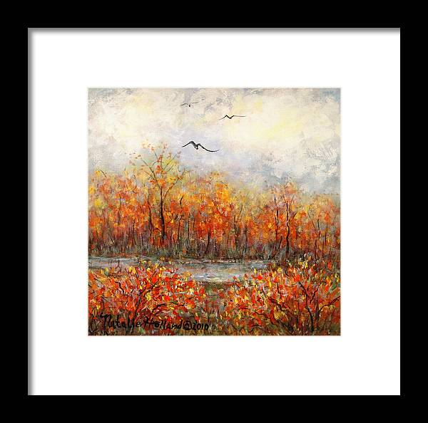 Landscapes Framed Print featuring the painting Autumn Song by Natalie Holland