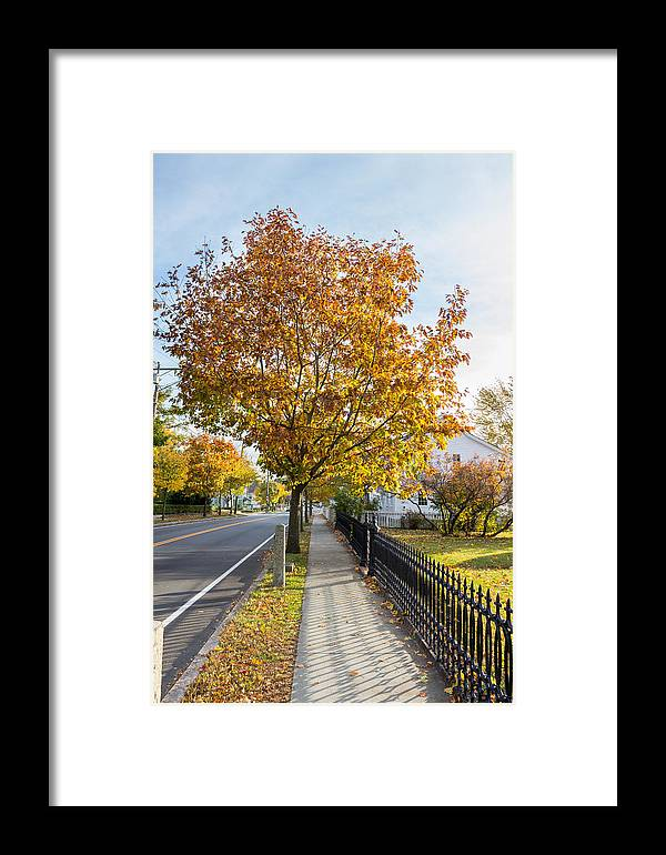 Autumn Stroll Framed Print featuring the photograph Autumn Stroll In Mystic by Kirkodd Photography Of New England