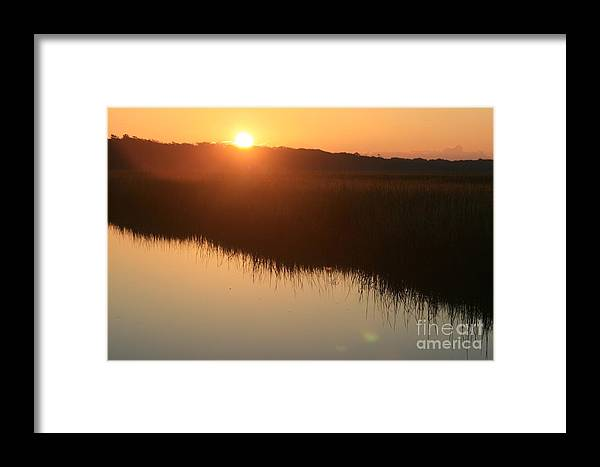 Sunrise Framed Print featuring the photograph Autumn Sunrise Over The Marsh by Nadine Rippelmeyer