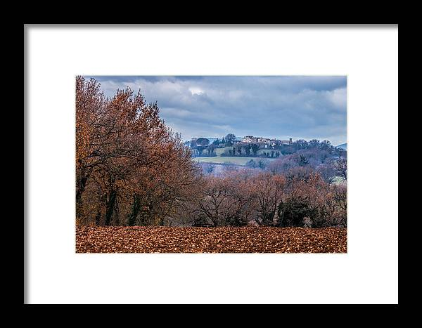 Field Framed Print featuring the photograph Autumns Leaves Winters Clouds by W Chris Fooshee