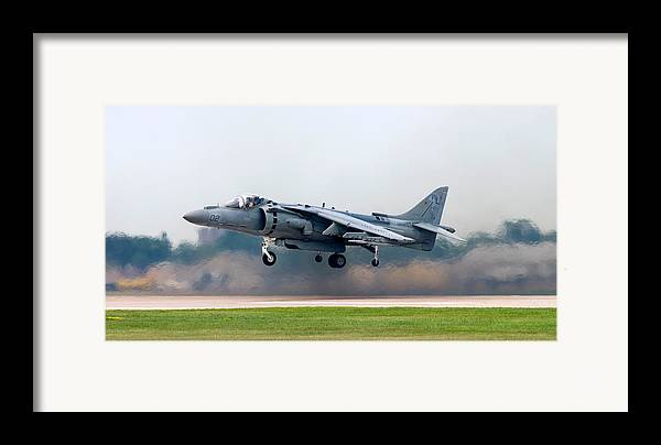 3scape Framed Print featuring the photograph Av-8b Harrier by Adam Romanowicz