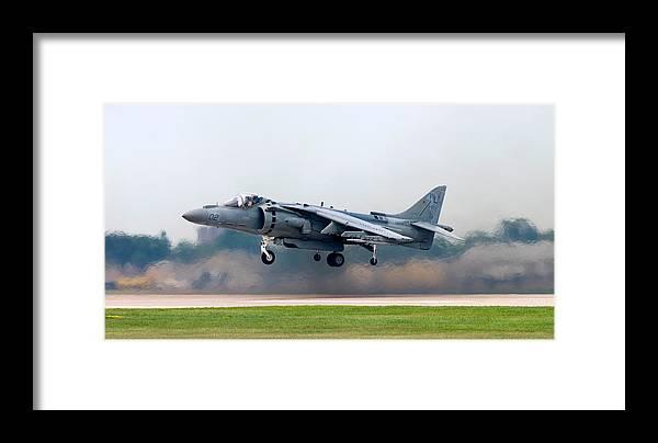 3scape Framed Print featuring the photograph Av-8b Harrier by Adam Romanowicz