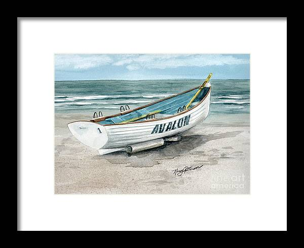 898f78f8f5c2 Lifeguard Boat Framed Print featuring the painting Avalon Lifeguard Boat by Nancy  Patterson