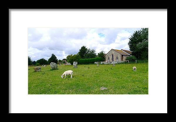 Avebury Framed Print featuring the photograph Avebury Stones And Sheep by Denise Mazzocco