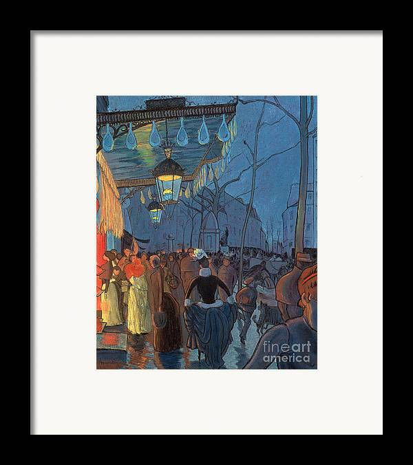 Evening Framed Print featuring the pastel Avenue De Clichy Paris by Louis Anquetin