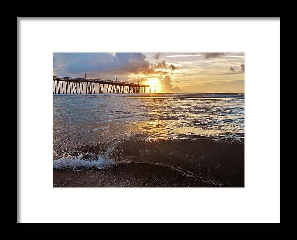 Mark Lemmon Cape Hatteras Nc The Outer Banks Photographer Subjects From Sunrise Framed Print featuring the photograph Avon Pier Sunrise 4 8/06 by Mark Lemmon