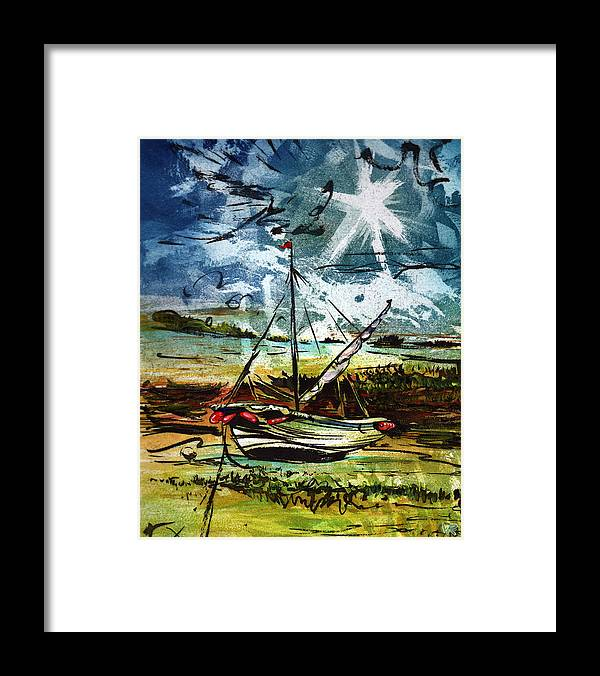 Seascape Framed Print featuring the mixed media Awaiting the Tide by William Rowsell