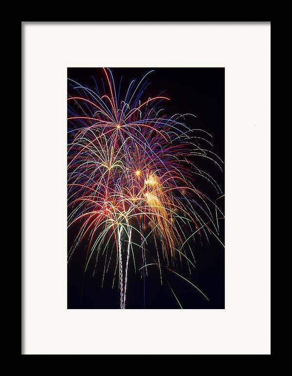 Awesome Fireworks Lights Up The Darkness Framed Print featuring the photograph Awesome Fireworks by Garry Gay