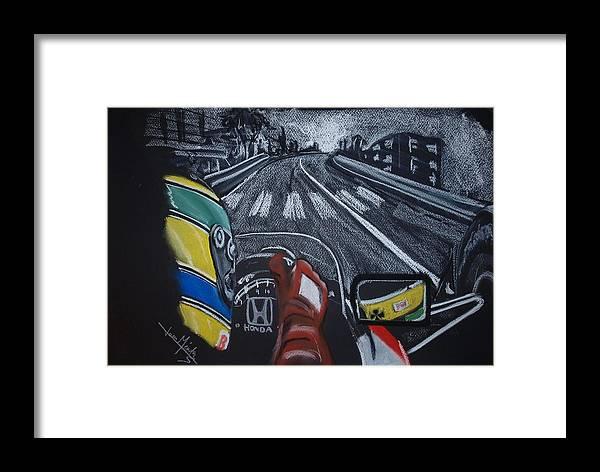 Ayrton Senna Framed Print featuring the painting Ayrton Senna On Board At Monaco 89 by Juan Mendez