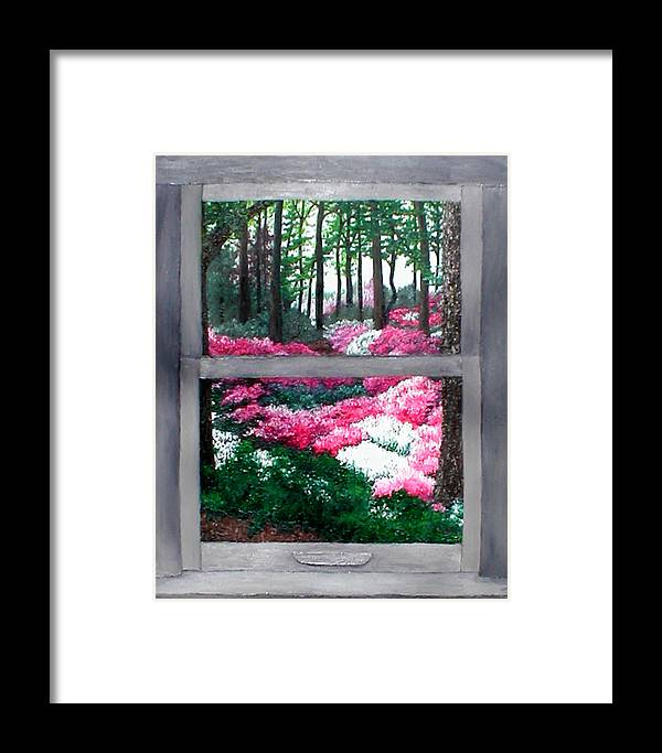 Window Framed Print featuring the painting Azalea Bowl Overlook Gardens by Beth Parrish